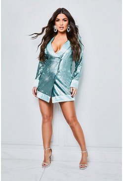 Womens Mint Matte Sequin Wrap Blazer Dress
