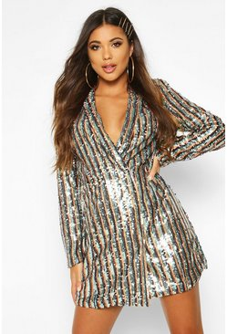 Womens Black Stripe Sequin Blazer Dress
