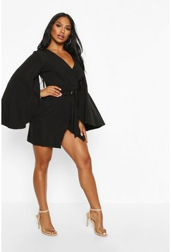Black Cape Detail Belted Tailored Dress