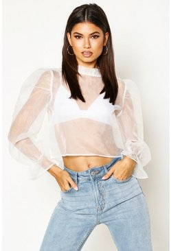 Womens Ivory Organza Mesh Volume Sleeve Blouse