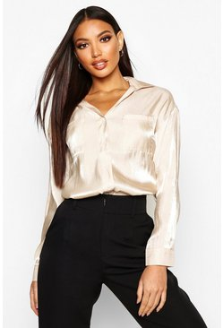 Taupe Metallic Pocket Detail Shirt