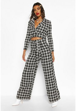 Black High Waist Belted Wide Leg Boucle Trouser