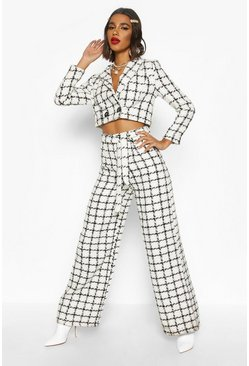 White High Waist Belted Wide Leg Boucle Pants