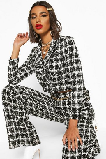 Black Boucle Checked Double Breasted Cropped Blazer