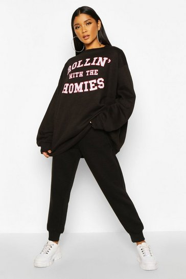Womens Black Rolling With The Homies Slogan Oversized Sweatshirt