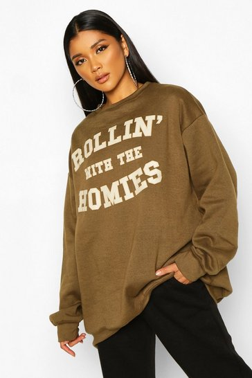 Olive Rolling With The Homies Slogan Oversized Sweatshirt