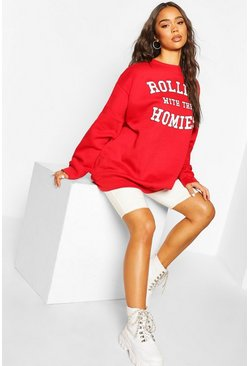 Red Rolling With The Homies Slogan Oversized Sweatshirt