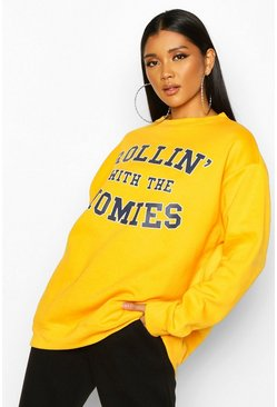 Rolling With The Homies Slogan Oversized Sweatshirt, Yellow