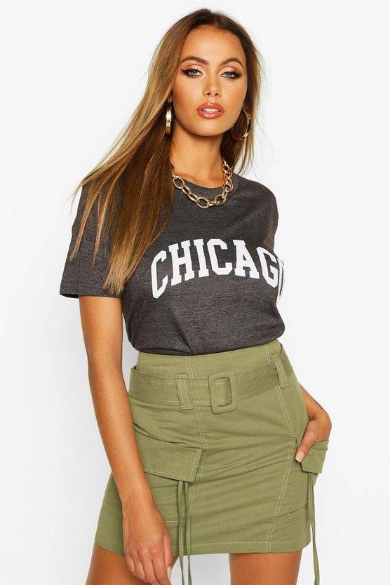Chicago Slogan Oversized T-Shirt
