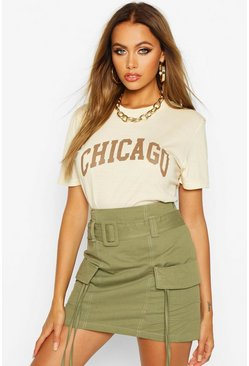 Chicago Slogan Oversized T-Shirt, Ivory, Donna