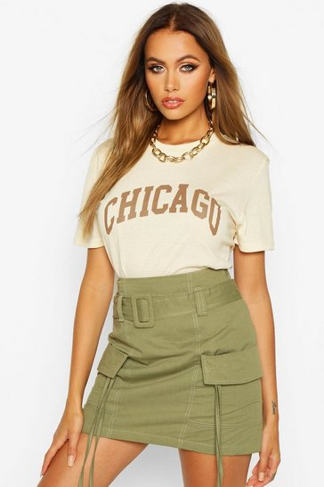 Womens Ivory Chicago Slogan Oversized T-Shirt