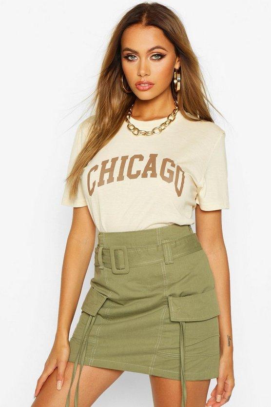 Chicago Slogan Oversized T Shirt by Boohoo