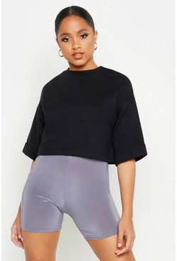 Womens Black Cropped Utility Pocket Oversized Sweatshirt