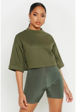 Womens Olive Cropped Utility Pocket Oversized Sweatshirt