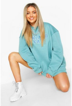 "Powder blue ""Oakland"" oversize sweatshirt med slogan"