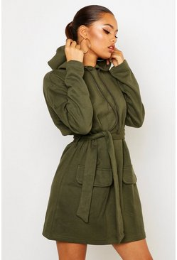 Womens Olive Utility Patch Pocket Drawcord Sweat Dress