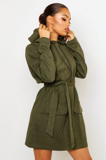Olive Utility Patch Pocket Drawcord Sweat Dress