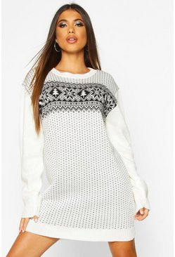 Cream Fairisle Knitted Christmas Dress
