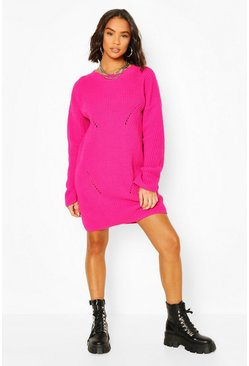 Hot pink Cuff Detail Fisherman Jumper Dress