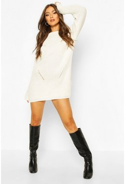 Ivory Cuff Detail Fisherman Jumper Dress