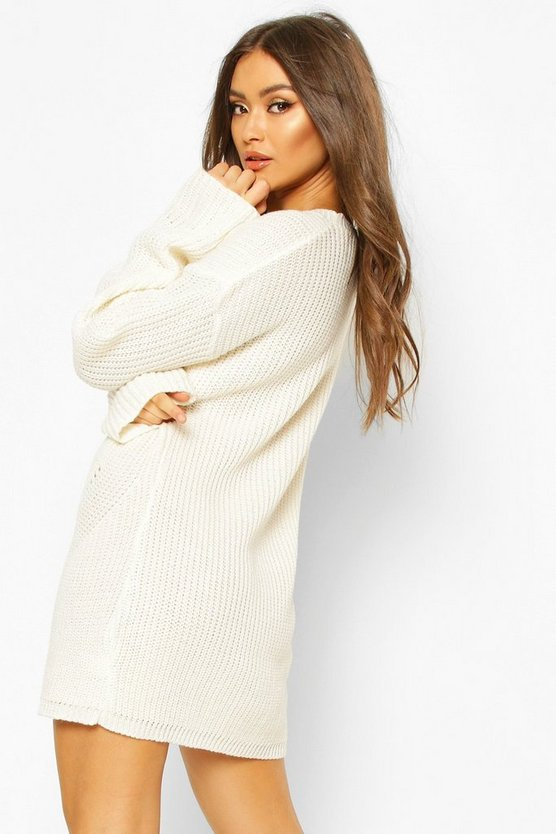 Cuff Detail Fisherman Jumper Dress