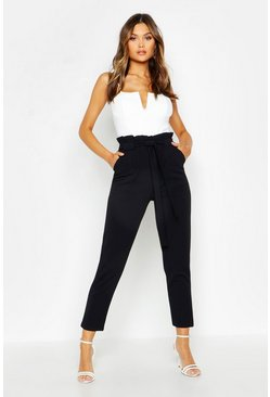 Womens Black Paperbag Waist Belted Pants