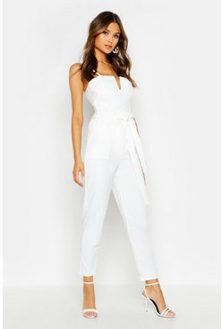 Womens Ivory Paperbag Waist Belted Pants