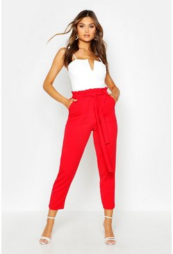 Dam Red Paperbag Waist Belted Trouser