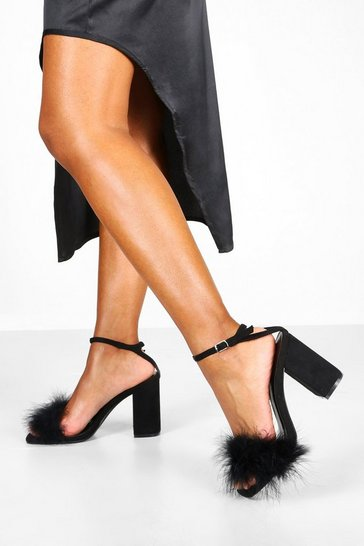 Womens Black Block Heel Feather Trim 2 Parts