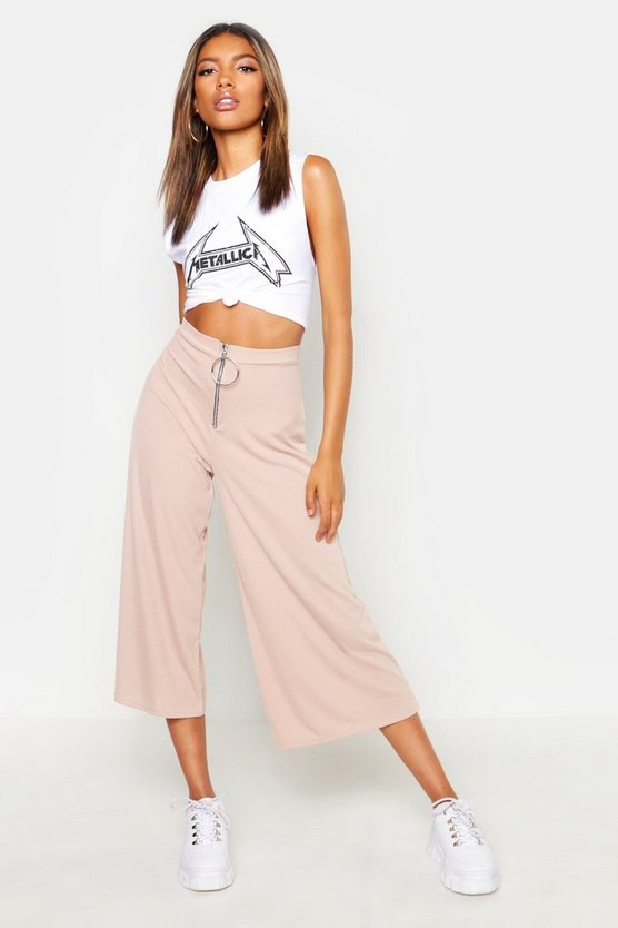 Womens Sand O Ring Ribbed Slouchy Culottes