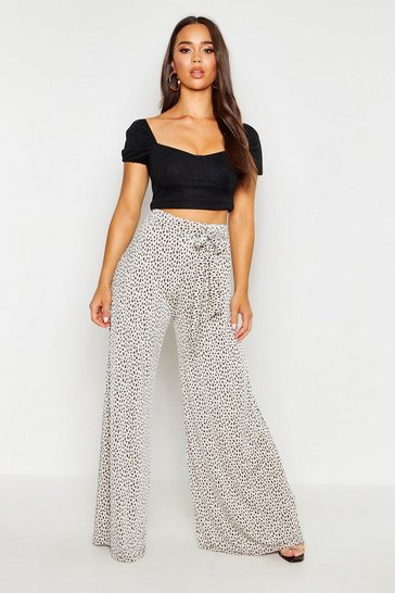 Womens Stone Extreme Wide Leg Belted Tonal Trousers