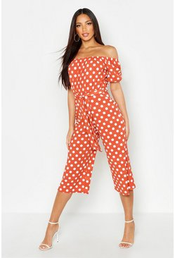 Terracotta Off Shoulder Polka Dot Wide Leg Jumpsuit
