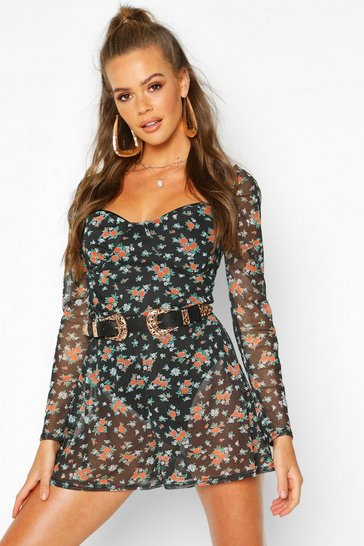 Womens Black Ditsy Floral Sweetheart Mesh Playsuit