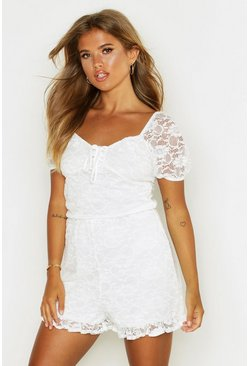 Womens Ivory Lace Puff Sleeve Sweetheart Playsuit