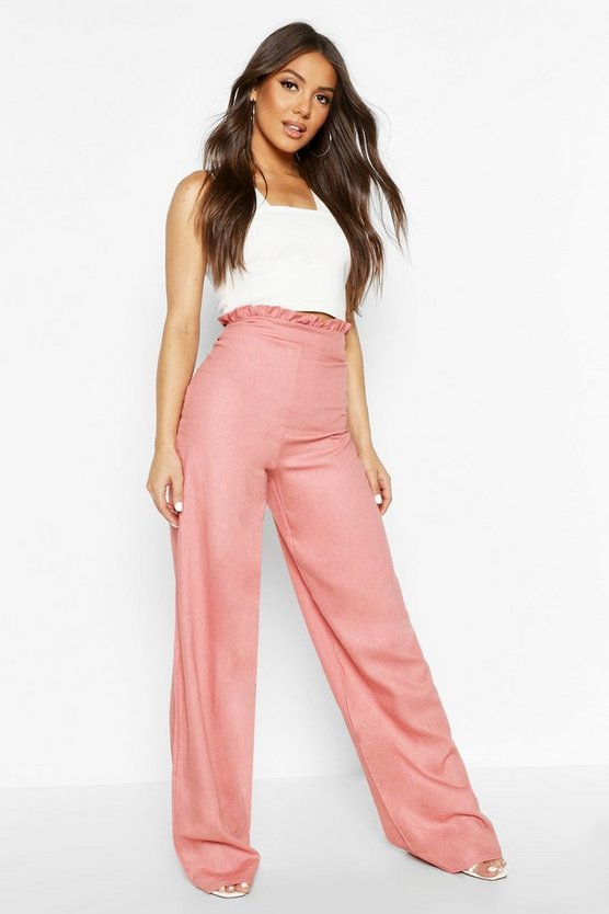 Womens Pink Paperbag Linen Wide Leg Trousers