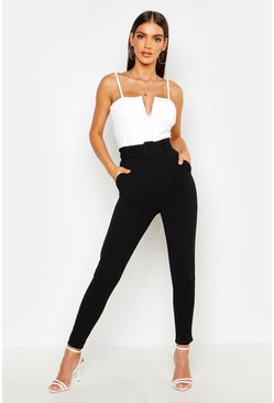 Womens Black Belted Slim Fit Trousers
