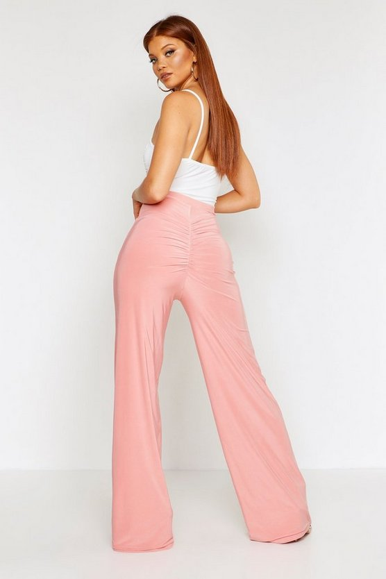 Ruched Bum Double Layer Slinky Wide Leg Trouser by Boohoo