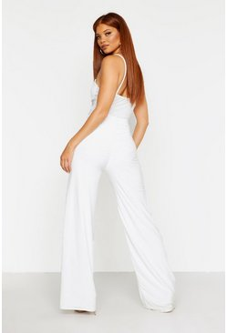 Womens Ivory Ruched Bum Double Layer Slinky Wide Leg Trouser