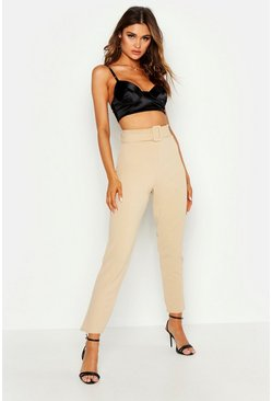 Stone Belted Cigarette Trousers