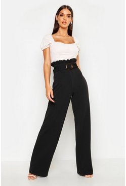 Womens Black Paperbag Mock Horn Wide Leg Trouser