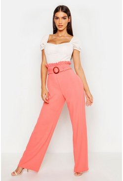 Peach Paperbag Mock Horn Wide Leg Trouser