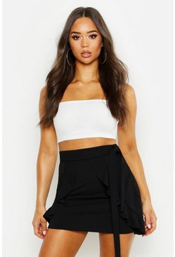 Womens Black Tie Detail Ruffle Mini Skirt