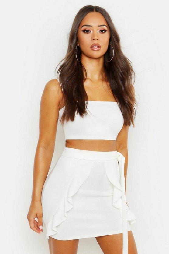 Tie Detail Ruffle Mini Skirt