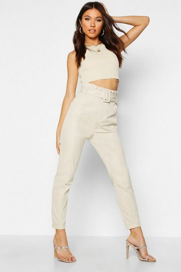 Womens Ecru Contrast Stitch Belted Paperbag Waist Trouser