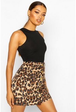 Womens Leopard Cord Button Through A Line Mini Skirt