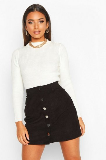 Womens Black Button Through Cord A Line Mini Skirt