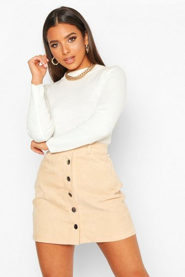 Ecru Button Through Cord A Line Mini Skirt