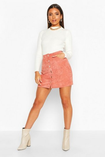 Terracotta Button Through Cord A Line Mini Skirt