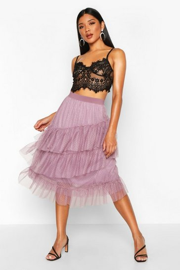 Womens Mauve Layered Dobby Mesh Tulle Midi Skirt