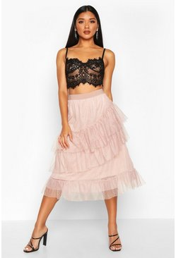 Womens Nude Layered Dobby Mesh Tulle Midi Skirt